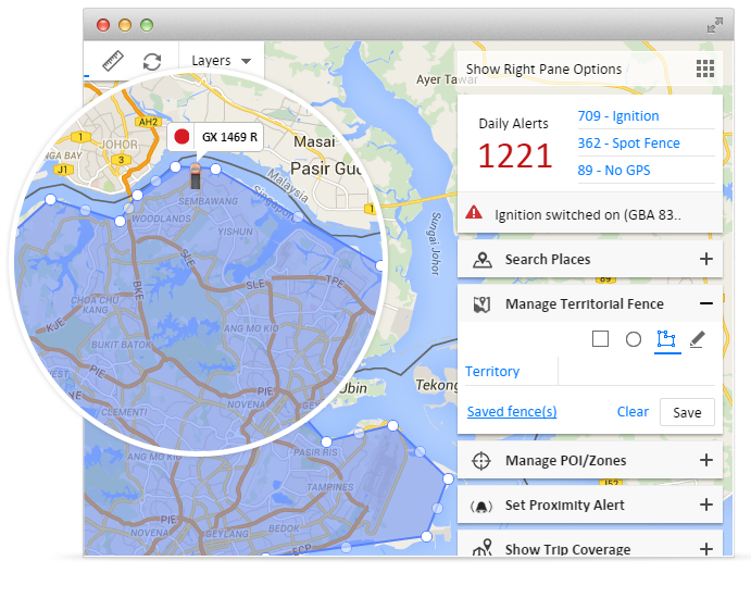 Geofence alert in gps vehicle tracking